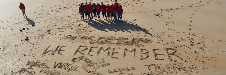 Students on the beaches of Normandy, France.
